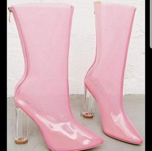 New Womens Pink Transparent Boot Heel 7.5